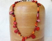 Red Coral Necklace with Onyx and Glass Beads