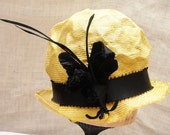 Spring Straw Hat- Unique- Newly Hand Blocked -Vintage Look -Small Brim-Custom Order Only