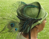 Fancy Straw Hat--Parasisal Straw Hat- -New Hand Blocked-1920's Vintage Inspired Cloche- Turn of the Century-1910's-Peacock Trim-