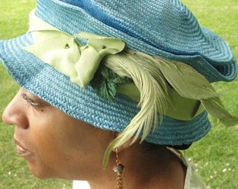 Parasisal Straw Hats- New Hand Blocked- 1920's-Vintage Inspired Hat w/Brim-Blue Straw Hat-