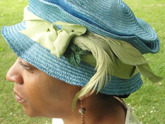 Parasisal Straw Hats- New Hand Blocked- 1920's-Vintage Inspired Hat w/Brim-Blue Straw Hat-