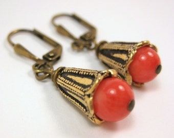 """Pink Bamboo Coral Antique Gold Earrings - """"Miss Anne"""""""