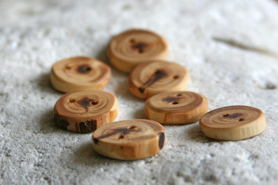 Beautiful Cedar Wood Buttons-5/8 inch for Knitting, Crochet and other Craft Projects