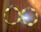 Large hoops, with large yellow beads and wooden beads