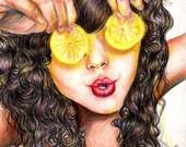 girl art color original drawing
