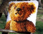 Teddy Bear, Teddy Bear - Turn Around...Acrylic Yarn Hooked Pillow / Teddy Bear Collector / Child's Room / Gift
