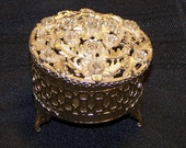 Vintage, 70's, Round, Gold colored, Filigree Trinket Box for Jewlery / Barettes / What Nots / Kitsch