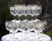 Vintage Set of 12 Goblets from 1947 Frosted Grapes and Leaves / Stemware / Glassware / Gold-Trim / Dinner Parties / Collectors / Kitsch