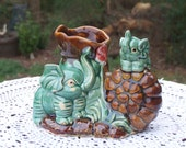 Vintage Glazed Green Elephants and Brown Shell Figurine for Greenery, Pens, Toothbrushes, Etc. - 2 Trunks Up...Dbl. Your Luck