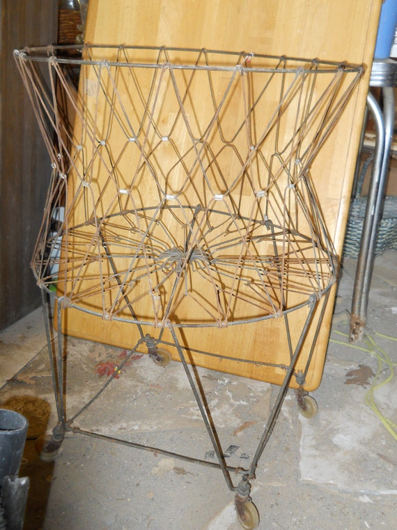 Vintage collapsible metal wire folding laundry basket with - Collapsible laundry basket with wheels ...