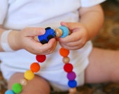 Rainbow Organic Teething necklace, Teething toy, Nursing necklace with a Blue toy Car