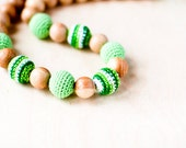 SALE 25 off Nursing necklace Mommy Organic Teething bead necklace grass green stripes and light green crochet necklace
