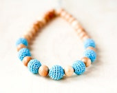 Mommy Organic Teething bead necklace Nursing necklace - turquoise blue and grey crochet necklace