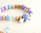 Organic Nursing necklace Teething bead necklace, Teething amigurumi toy Turtle - in sky blue, bright lilac and blue - wrap necklace