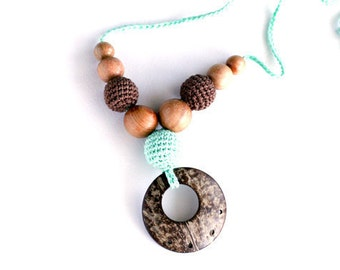 Nursing necklace coconut ring pendant - 100% certified organic cotton teething necklace - mint green and chocolate brown Mother's Day gift