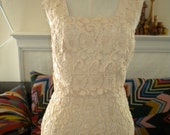 1950s offwhite lace bustier wiggle dress