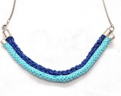 Custom made woven necklace with curved metal embellishment- Albatross