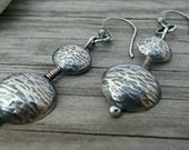 Dangle  Earrings Sterling silver domed textured discs