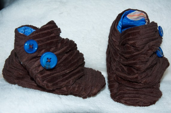 Baby Boy shoes, Chocolate brown corduroy baby boots