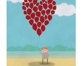 Floating hearts illustration Limited Edition A4 Print