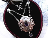 Antique Arts and Crafts Silver Necklace Amethyst MB & Co. Murrle Bennett c1900