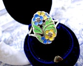 Bernard Instone Silver Ring Enamel Flowers Arts and Crafts 1920s