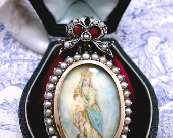Antique Georgian Mourning Locket Miniature Painting Silver Gold Pearl