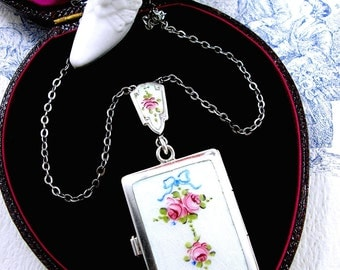 Antique Art Deco Locket Guilloche Enamel Roses Sterling Silver Minaudiere 1940s