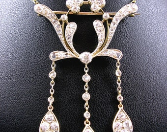 Antique Art Nouveau Diamond Pendant Brooch Pendant Lavaliere Necklace 18ct Gold