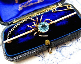 Antique Victorian 9ct Gold Brooch Topaz Lucky Money Spider Bug Insect c1900