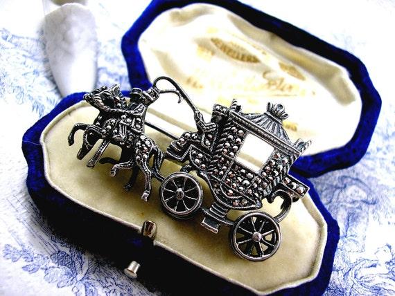 Art Deco Silver Marcasite Brooch Cinderella's Coach Royal Carriage 1940s