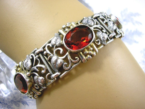 Arts and Crafts Jugendstil Silver Bracelet Wiener Werkstatte Style 1930s