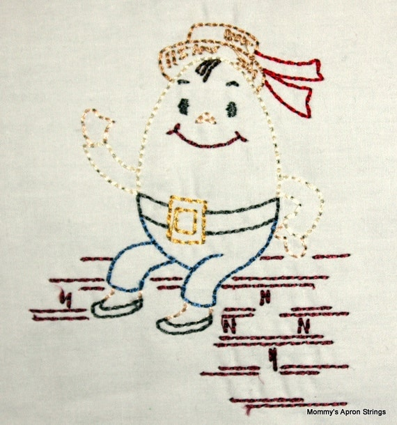 Humpty dumpty machine embroidery design hoop vintage