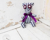 Handmade teddy bear toy, striped lillac and white