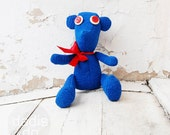 Funny kids teddy bear toy, Royal blue with red accents,  personalized OOAK gift