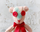Knitted funny kids toy, atractive handmade Teddy bear toy