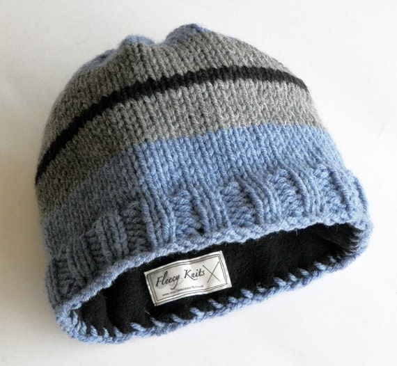 Knitting Pattern Lined Hat : Knitted Mens Fleece Lined Blue Liner hat Knit Mens by ...