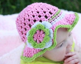 Adorable Handmade Crochet Baby Hat Photo Prop Cotton SUN HAT Beach Hat Made to Order