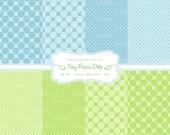 Blue and Green Dots digital scrapbook paper diy jpeg instant download large small dot