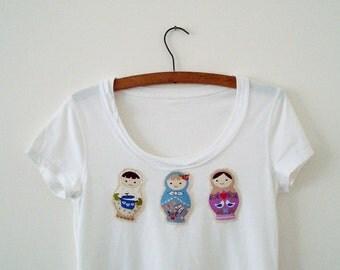 Matryoshka Top Upcycled Woman's Clothing Eco Summer Fashion Doll Party  Handmade in UK OOAK