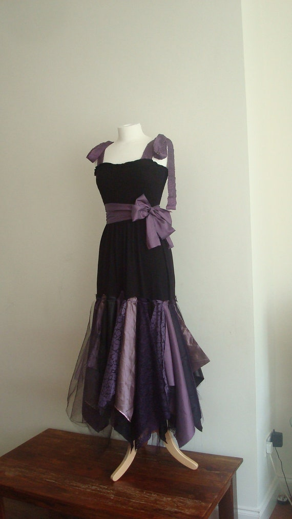 RESERVED Upcycled Woman's Clothing Romantic Eco Style Wedding Fairy Dress Black Purple Gothic Tulle Lace OOAK