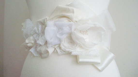 Wedding Sash Belt Upcycled Ivory White Lace Floral Pearls Woman's Clothing Romantic Eco Style  OOAK