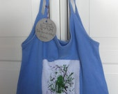 """Blue Funky Eco-friendly Up-cycled T-Shirt Shopping Bag """"SALE"""""""