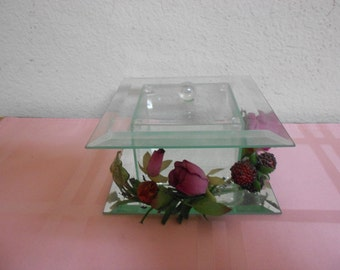 Gorgeous beveled glass keepsake box with Mirrored base / Cottage Chic / REDUCED