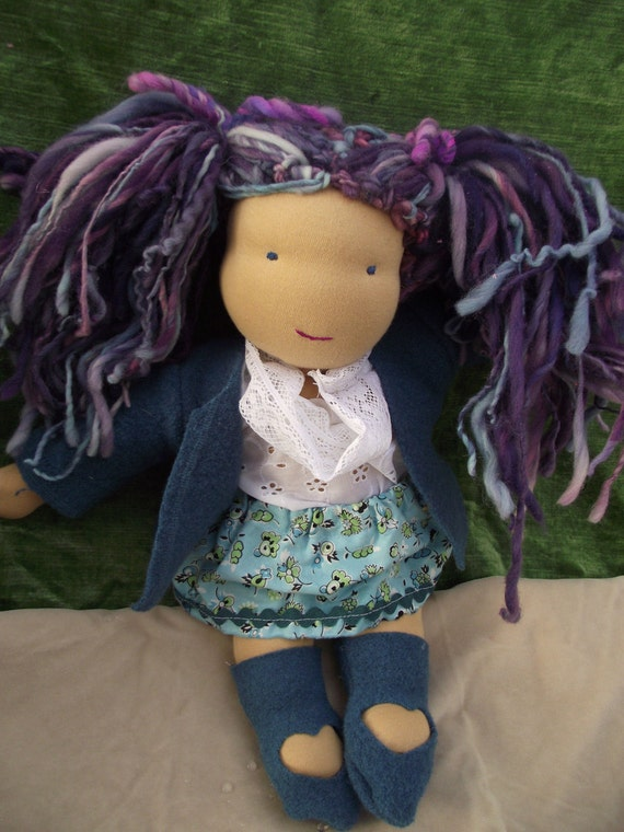 15 inch Waldorf Doll Ready to ship Violet doll, handspun hair, very sweet, organic, natural
