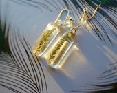 Real Leaves Botanical Resin Earrings: Dangle Earrings With Natural Green Leaves