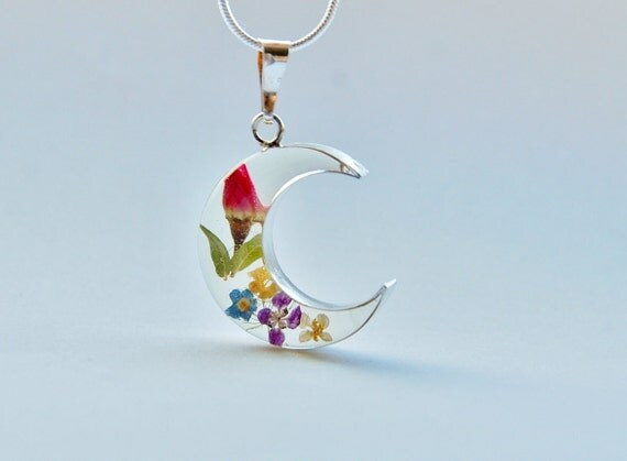 Real Flower Sterling Silver Necklace 01 Resin Jewelry Crescent Moon  Wedding Bridal Bridesmaid