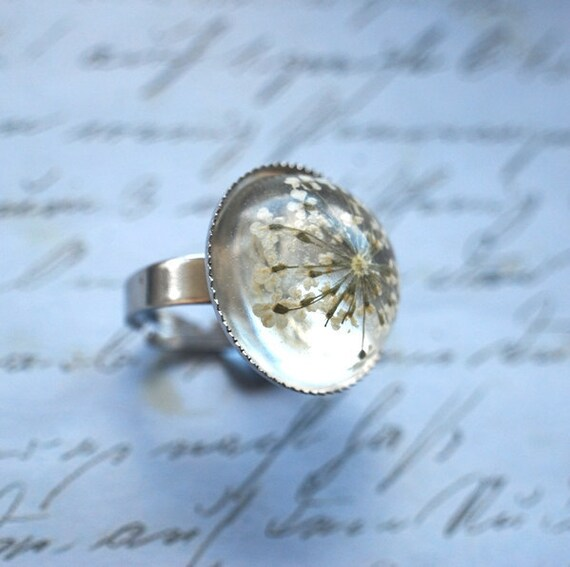 Real Flower Ring Resin Jewelry Queen Anne's Lace White Pearly silver Elegant Transparent Vintage Spring Ice