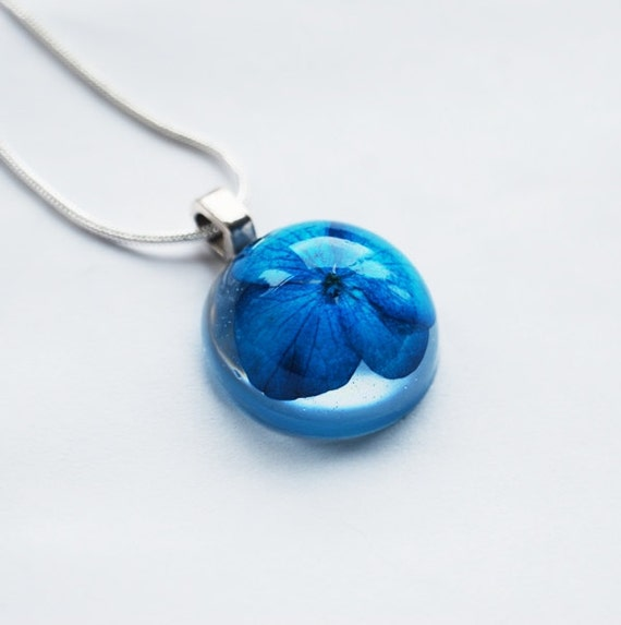 Pressed Flower Necklace Small Resin Pendant Real Flower Blue Hydrangea Handmade 925 Plated