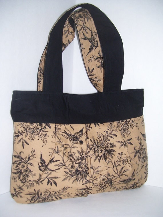 SALE ---  Small black pleated bag with flora and fauna design